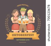 oktoberfest flat illustration... | Shutterstock .eps vector #700123678