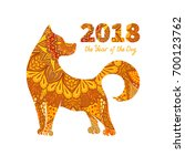 dog is a symbol of the 2018... | Shutterstock .eps vector #700123762