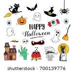 happy halloween hand drawn... | Shutterstock .eps vector #700139776