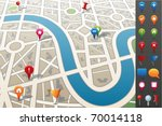 city map with gps icons. | Shutterstock .eps vector #70014118