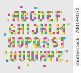 pixel typefont. cubic letters  ... | Shutterstock .eps vector #700144072