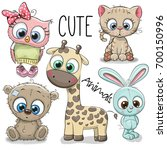 set of cute animals on a white... | Shutterstock .eps vector #700150996