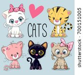 Set Of Cute Cartoon Cats On A...