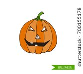 cartoon halloween jack o... | Shutterstock .eps vector #700155178
