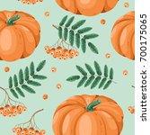 autumn seamless pattern in... | Shutterstock .eps vector #700175065