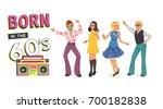 dancing people in retro disco.... | Shutterstock .eps vector #700182838