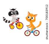 cute little raccoon and cat...   Shutterstock .eps vector #700183912