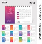 desk calendar 2018. simple... | Shutterstock .eps vector #700199578