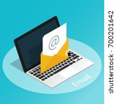 isometric email laptop simple... | Shutterstock .eps vector #700201642