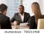 dissatisfied african american... | Shutterstock . vector #700211968
