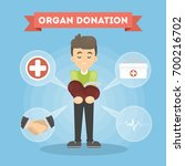 organ donation man. boy donates ... | Shutterstock .eps vector #700216702