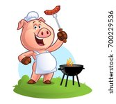 pig chef holding a sausage on... | Shutterstock .eps vector #700229536