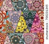 seamless mandalas pattern.... | Shutterstock .eps vector #700231345