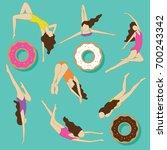 summer swimmers illustration... | Shutterstock .eps vector #700243342