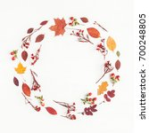 autumn composition. wreath made ... | Shutterstock . vector #700248805