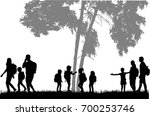 family reaching with backpacks... | Shutterstock .eps vector #700253746