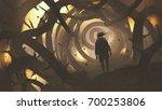man walking in mystery forest... | Shutterstock . vector #700253806
