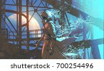 mysterious woman in futuristic... | Shutterstock . vector #700254496