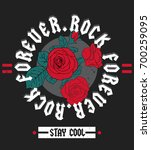 rock and roll fashion slogan... | Shutterstock .eps vector #700259095