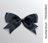 realistic satin black bow knot. ... | Shutterstock .eps vector #700263862