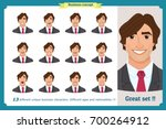 set of male facial emotions...   Shutterstock .eps vector #700264912