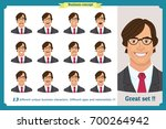 set of male facial emotions...   Shutterstock .eps vector #700264942