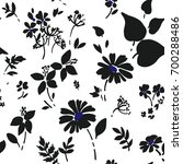 seamless black floral pattern... | Shutterstock .eps vector #700288486