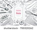italian pasta top view frame.... | Shutterstock .eps vector #700320262