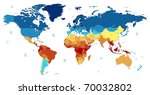 detailed world map of red  blue ... | Shutterstock . vector #70032802