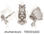 totem eagle  wolf  fox and owl... | Shutterstock .eps vector #700331602