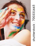 portrait of the beautiful girl... | Shutterstock . vector #700331665