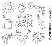 set of explosives and weapon | Shutterstock .eps vector #70033744