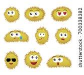 set of cartoon funny emoticons. ... | Shutterstock .eps vector #700338382