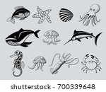 set of ink icons of aquatic... | Shutterstock .eps vector #700339648
