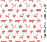bbq seamless pattern  vector... | Shutterstock .eps vector #700341952