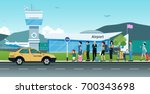 many passengers are waiting for ... | Shutterstock .eps vector #700343698