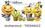 watercolor border  set of cakes ... | Shutterstock . vector #700344622
