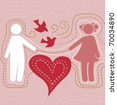 vector card of loving couple | Shutterstock .eps vector #70034890
