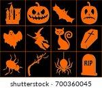 set of halloween icons. pumpkin ... | Shutterstock .eps vector #700360045