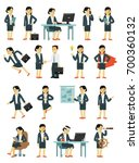 set of businesswoman characters ... | Shutterstock .eps vector #700360132