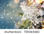 christmas ornament on wooden... | Shutterstock . vector #700365682
