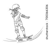 sketch of girl skateboarder... | Shutterstock .eps vector #700366306