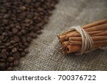 bunch cinnamon sticks coffee... | Shutterstock . vector #700376722