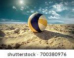 beach volleyball. game ball... | Shutterstock . vector #700380976