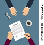 contract signing flat vector... | Shutterstock .eps vector #700382152