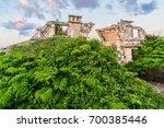 the temple of ixchel at beach... | Shutterstock . vector #700385446
