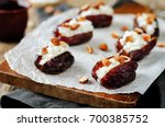 almond and goat cheese stuffed...   Shutterstock . vector #700385752