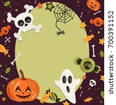 halloween cartoon art in flat... | Shutterstock .eps vector #700391152