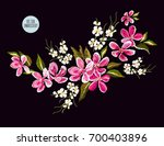 embroidery colorful floral... | Shutterstock .eps vector #700403896