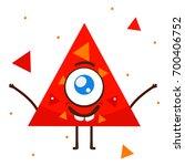 geometric monster  red triangle ... | Shutterstock .eps vector #700406752